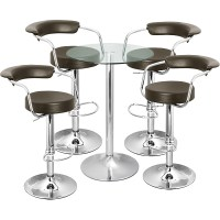 Zenith Bar Stool and Vetro Table Set Brown