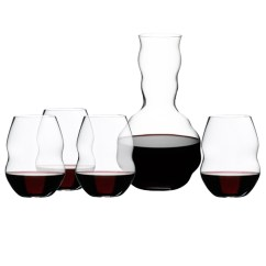 Red Kitchen Table Set Countertops Seattle Riedel Swirl Wine Glasses & Decanter Gift ...