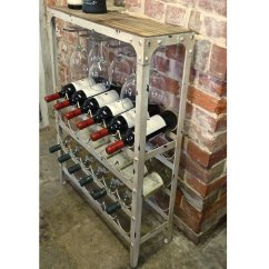 Wooden Kitchen Tools Compact Table Antique White Wine Rack 24 Bottle | Drinkstuff