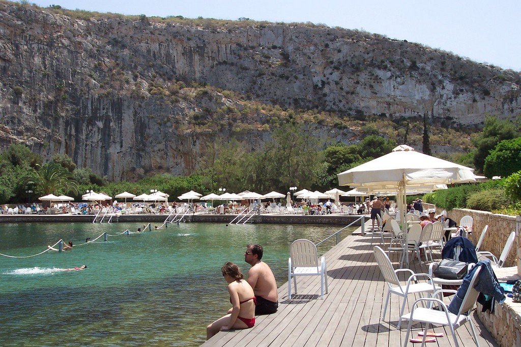 The boardwalk at Lake Vouliagmenis, Greece