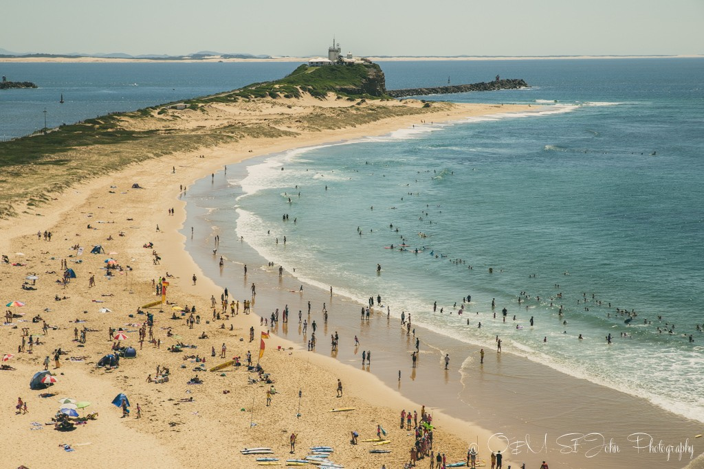 Nobby's Beach. View from the top of Fort Scratchley. Newcastle. Australia