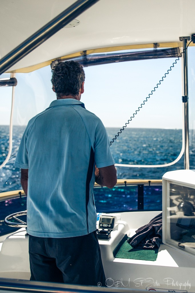 Bill hard at work on the Magellan bridge. Ningaloo Reef. Exmouth. Western Australia