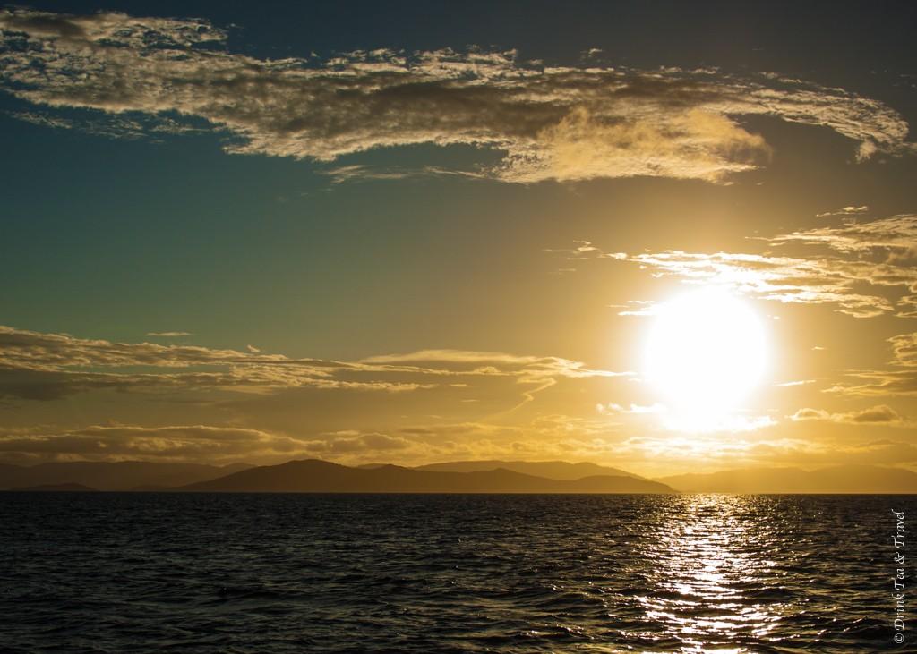 Sunset over the Whitsundays. Sailing the Whitsundays, Australia