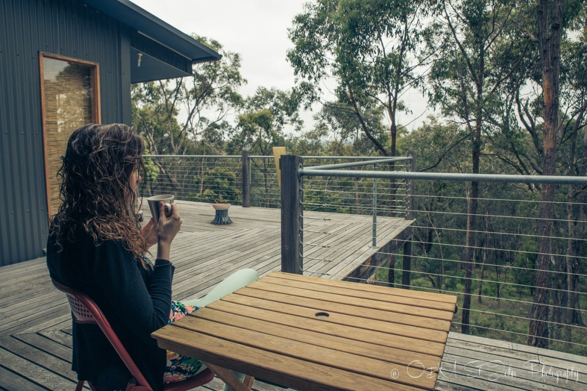 Enjoying a cup of tea on the terrace of our Airbnb in Yarra Valley, VIC, Australia
