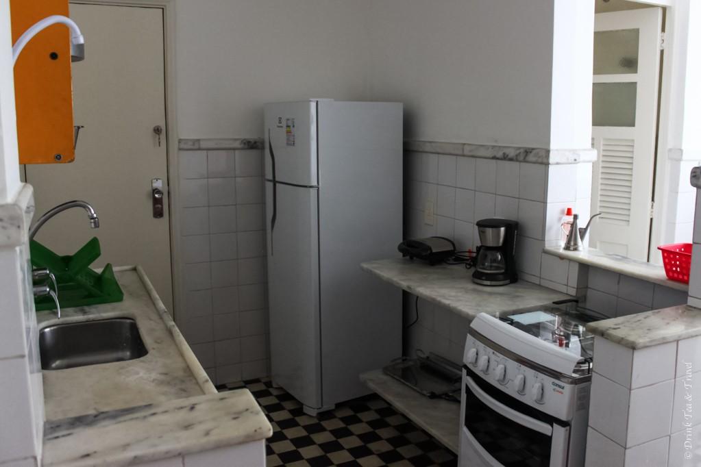 Kitchen inside our Rio de Janeiro apartment