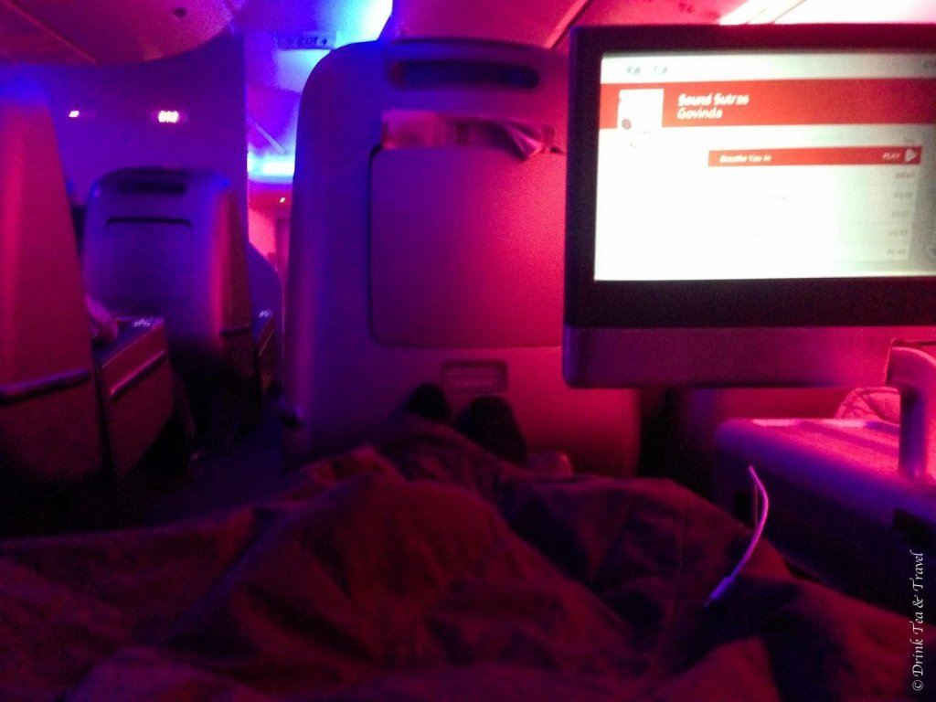 Ready for bed in Qantas Business Class