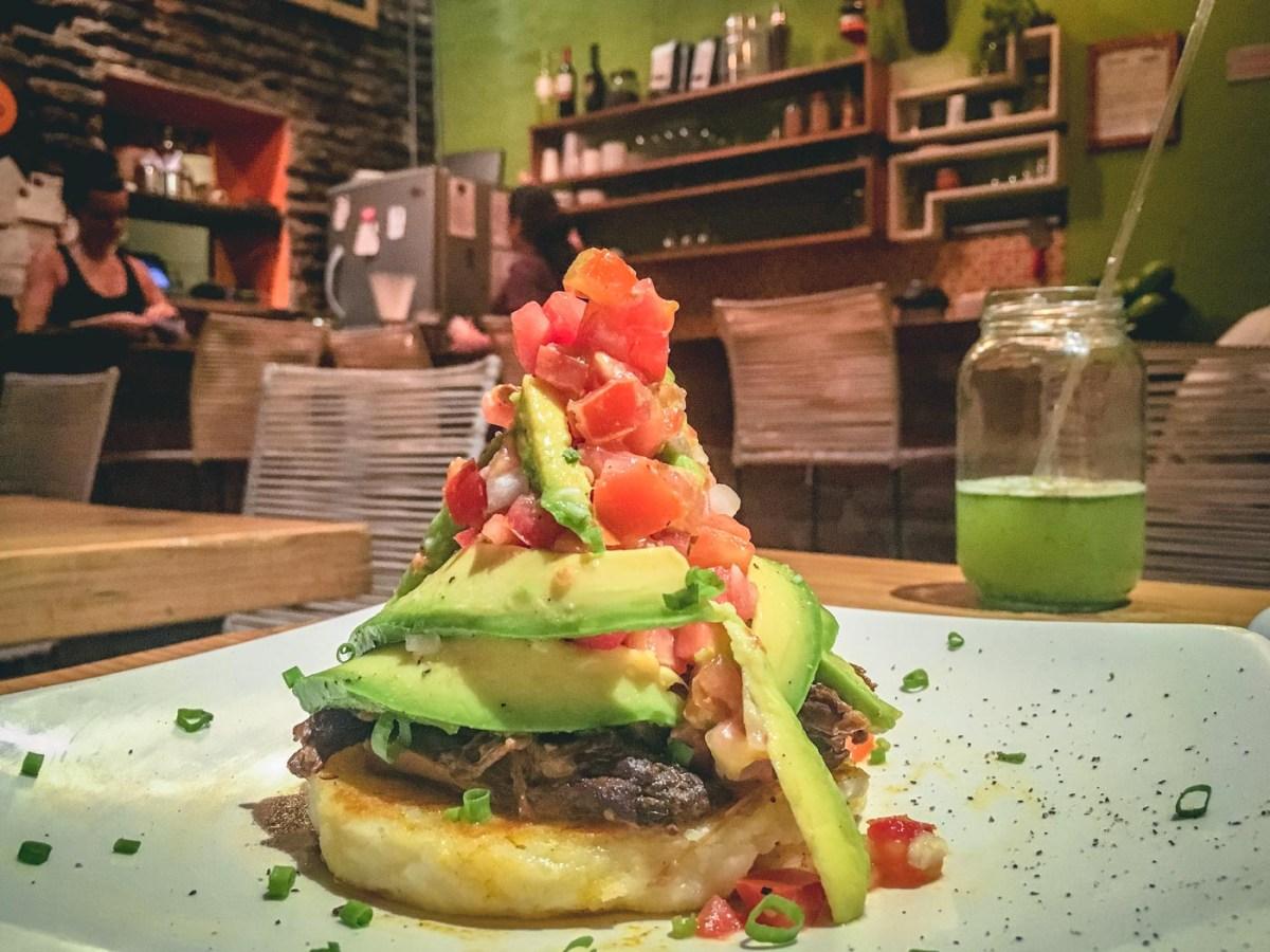Delicious Arepa dish at Lulo Cafe in Santa Marta