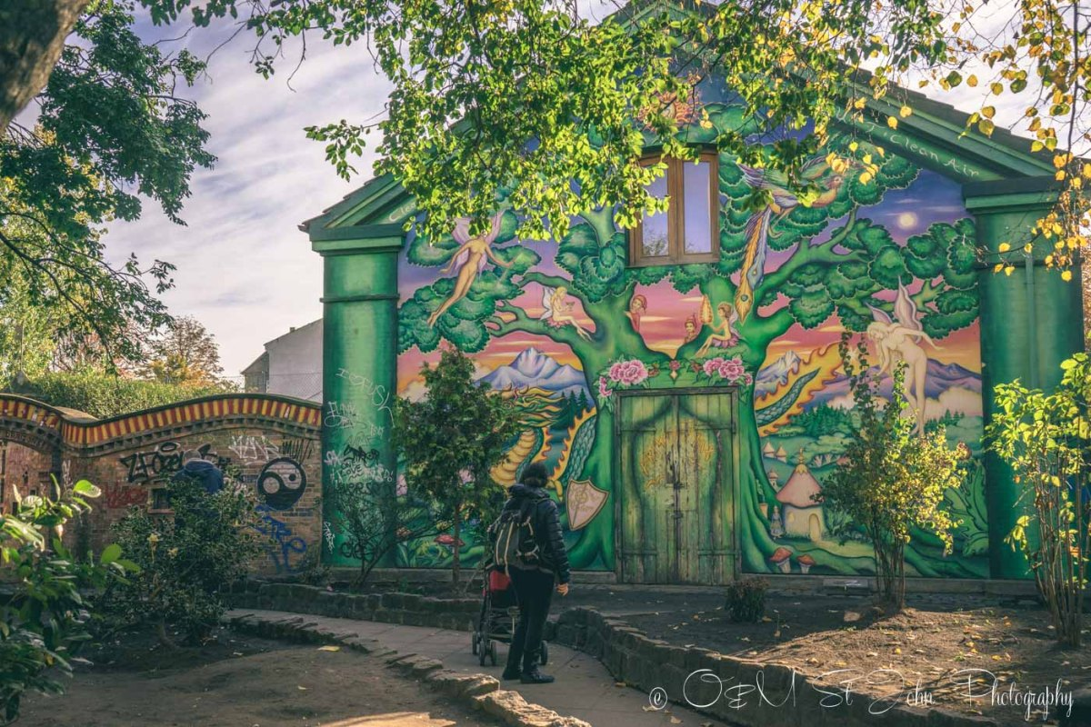 Colourful building in freetown Christiania, Copenhagen. Denmark