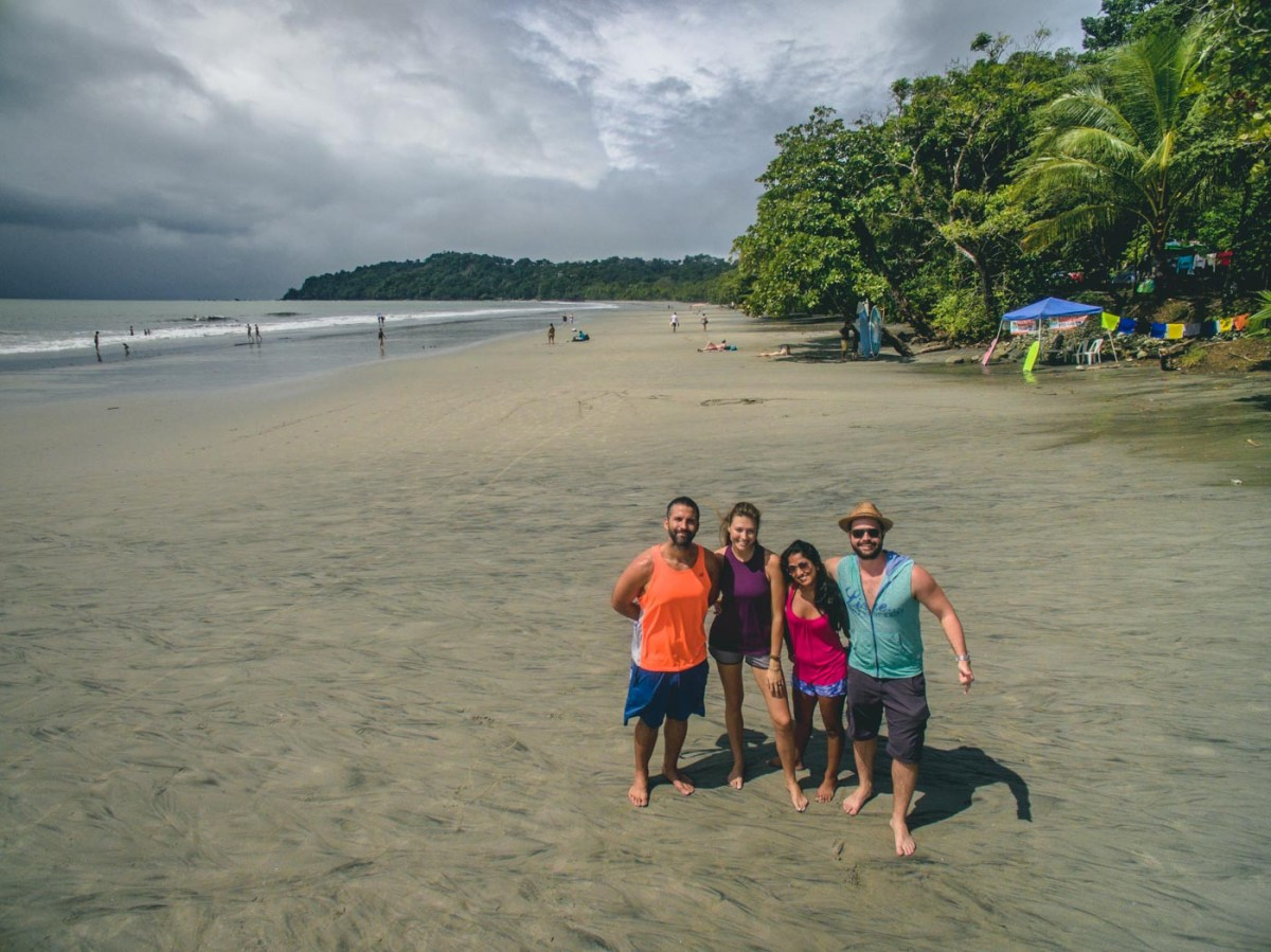 Oksana, Max, Chris, and Shalini on Manuel Antonio Beach