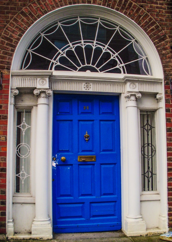 Blue Georgian style door in Dublin