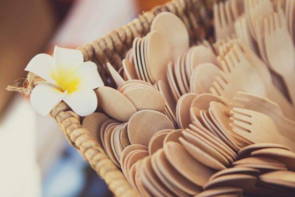 Bamboo cutlery at the wedding. Costa Rica