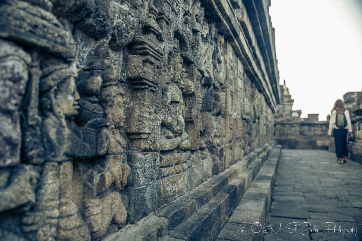 Intricate wall carvings at Borobudur. Indonesia