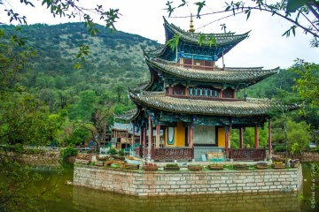 One of the many pagodas in Jade Spring Park, Lijiang, China