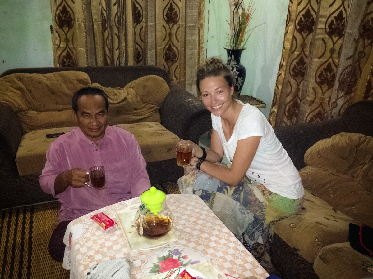 Sharing a cup of tea with my homestay host in Kota Belud, Sabah. Malaysia