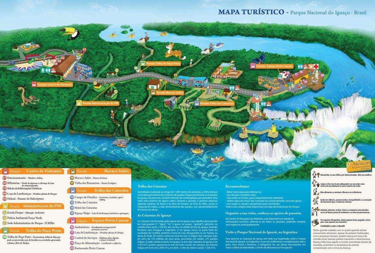 Map of Iguazu Falls Brazil