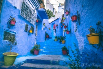 Vibrant alleyway in Chefchaouen, Morocco