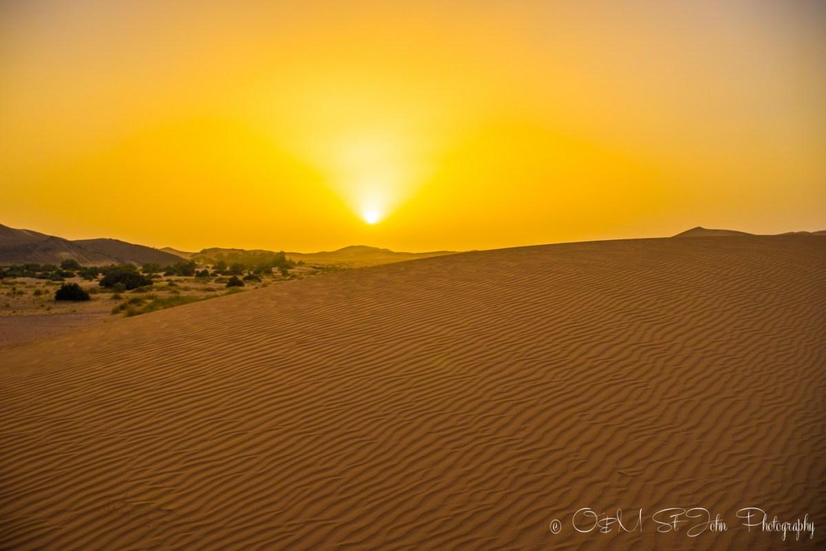 Sunset in Sahara Desert. Erg Chebbi. Morocco