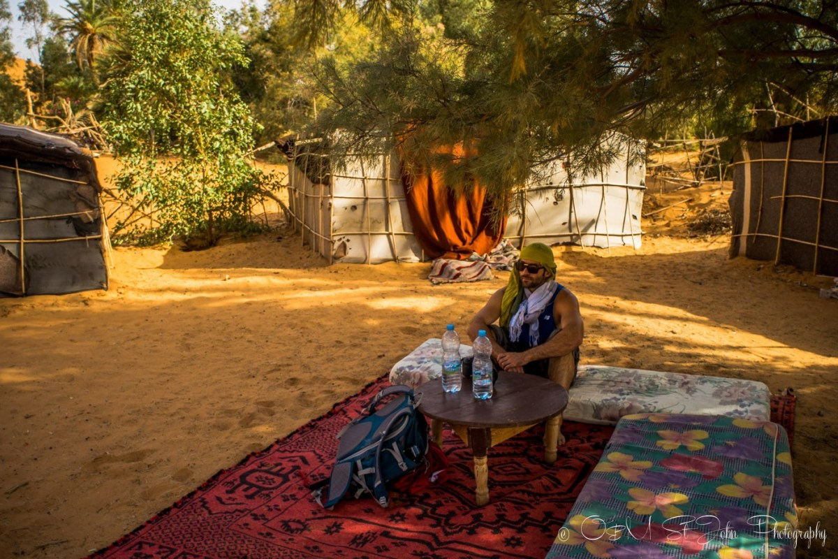 Max relaxing in the shade of the Oubira Oasis. Erg Chebbi. Sahara Desert. Morocco