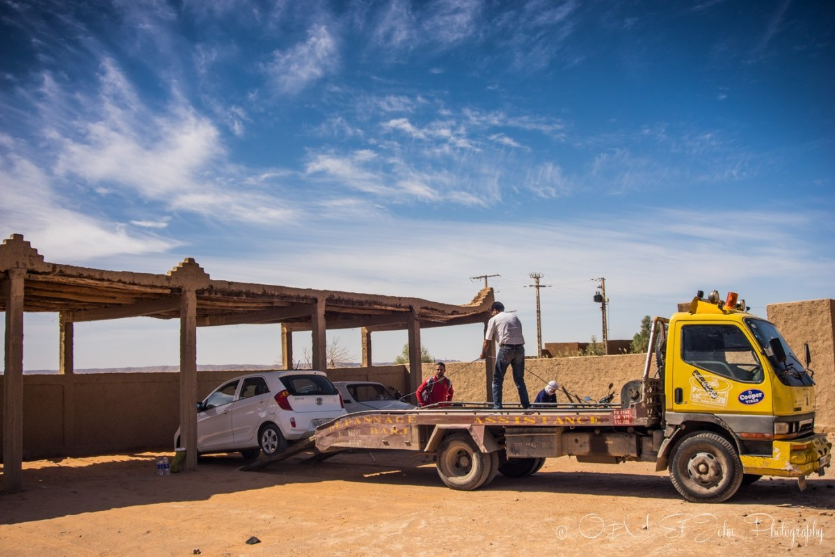 Car being towed from hotel in Merzourga, Sahara Desert. Morocco