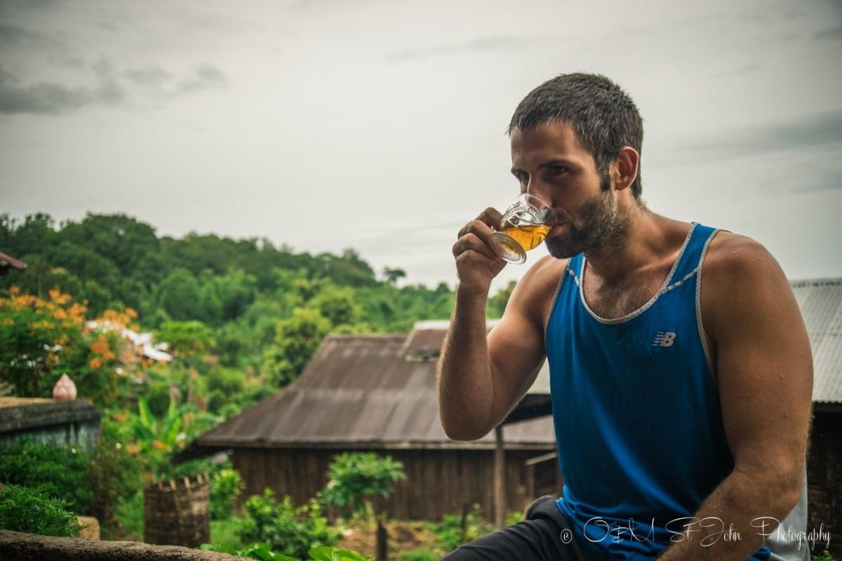 Max drinking tea in Palaung village. Myanmar