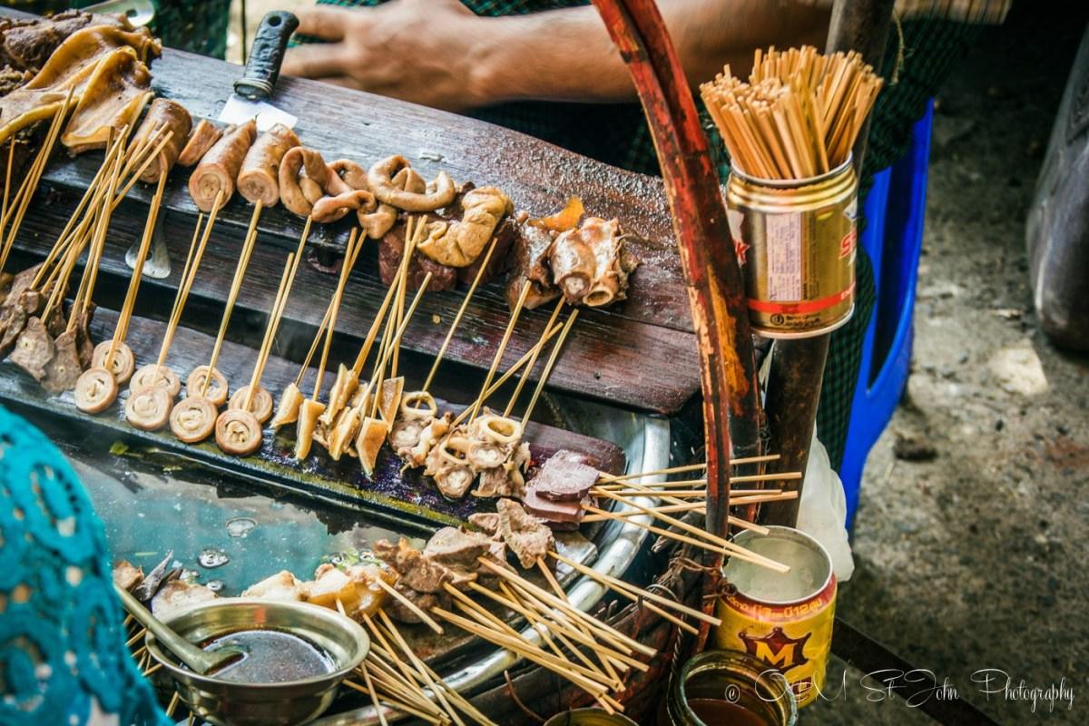 Chicken bits on sticks on sale in Yangon. Myanmar