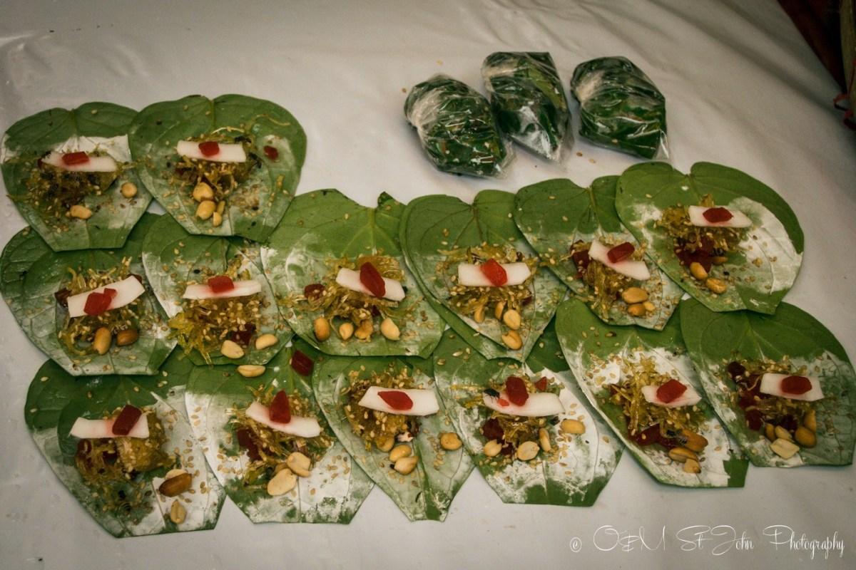 Betel nut wraps ready for sale. Yangon, Myanmar