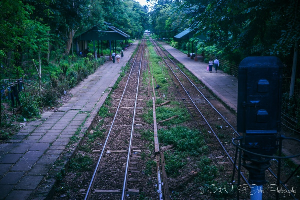 Train tracks run across Yangon. Myanmar