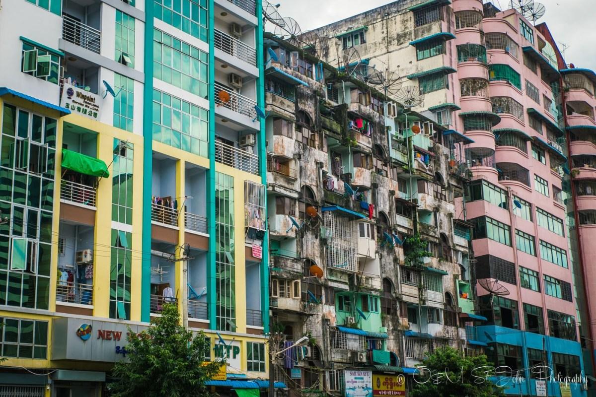 Colourful buildings in Yangon. Myanmar