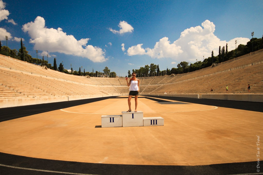 Posing at the first ever Olympic stadium in Athens, Greece.