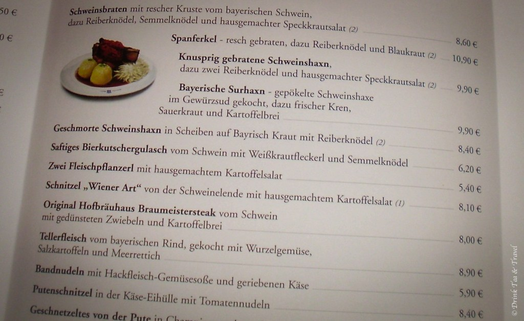 A menu sample at Höfbrauhaus