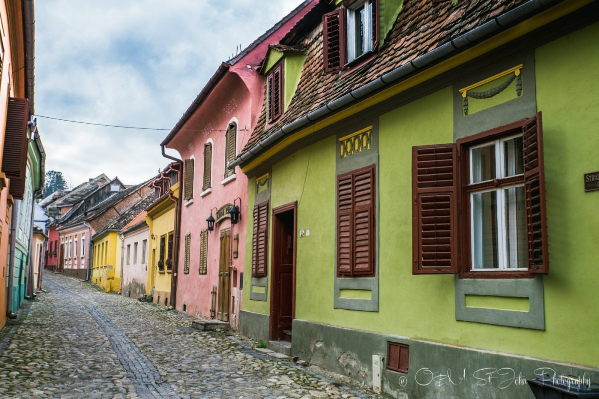 Colourful houses in Sighisoara, Romania
