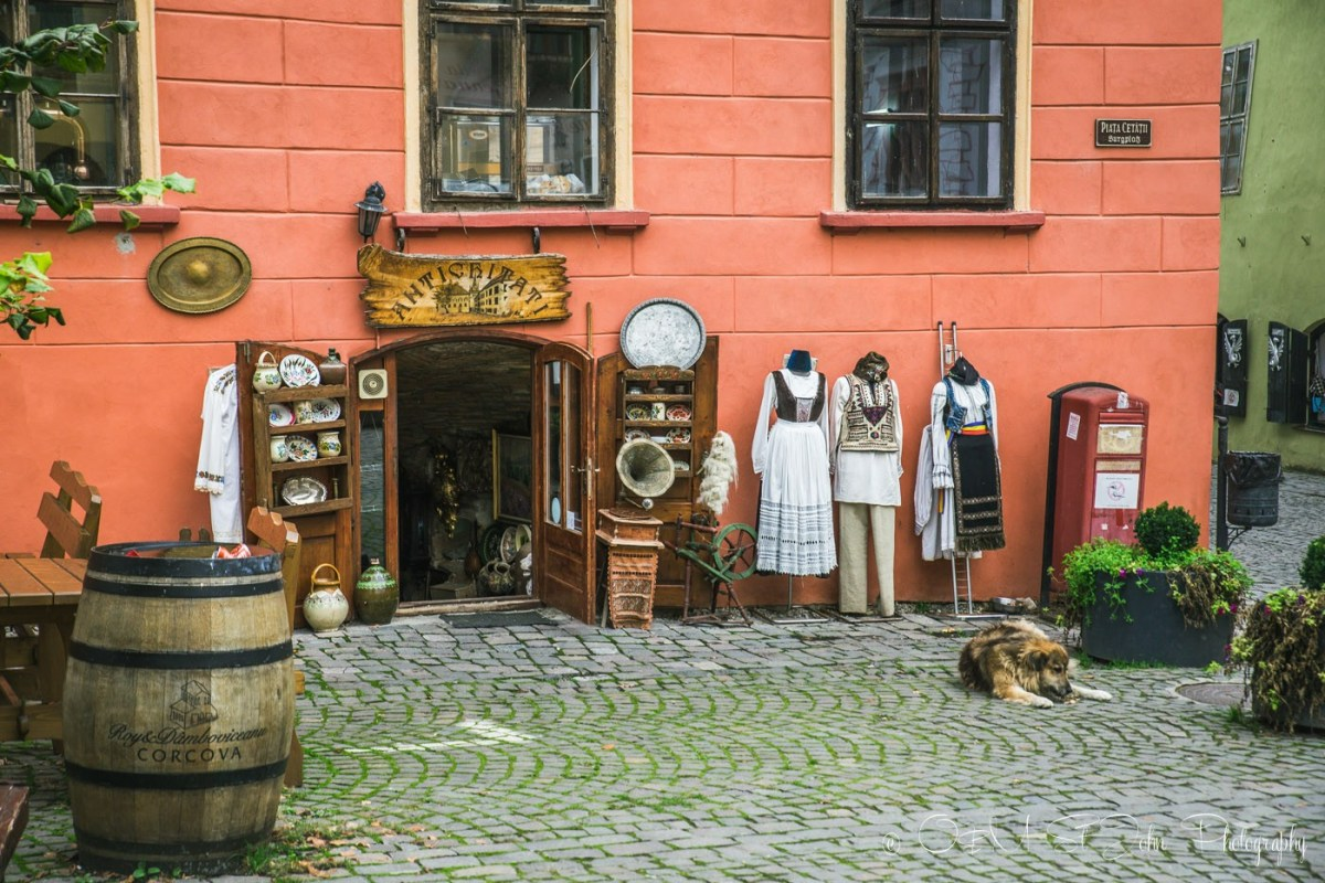 Romanian souvenirs. Souvenir shop. Sighisoara. Romania