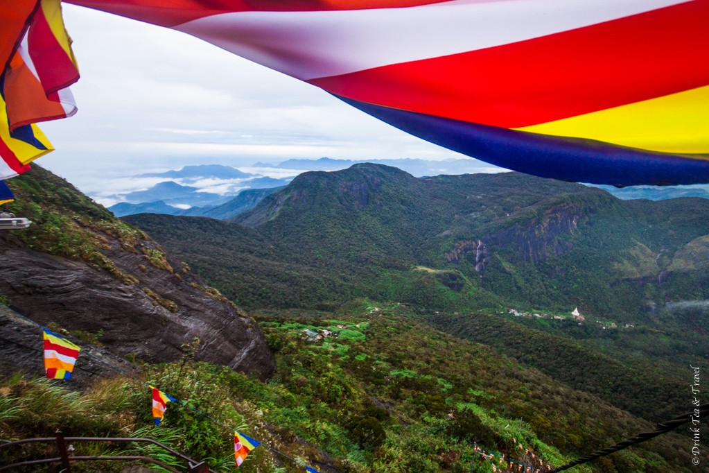 Sri Lanka flags line the trail