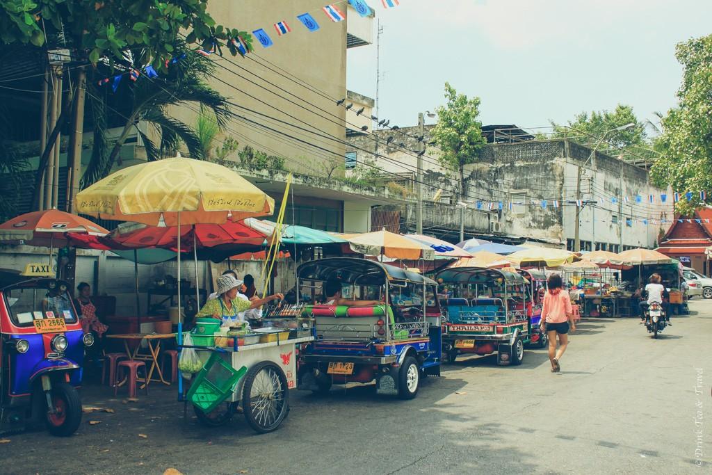 Tuk tuks waiting for customers in Bangkok