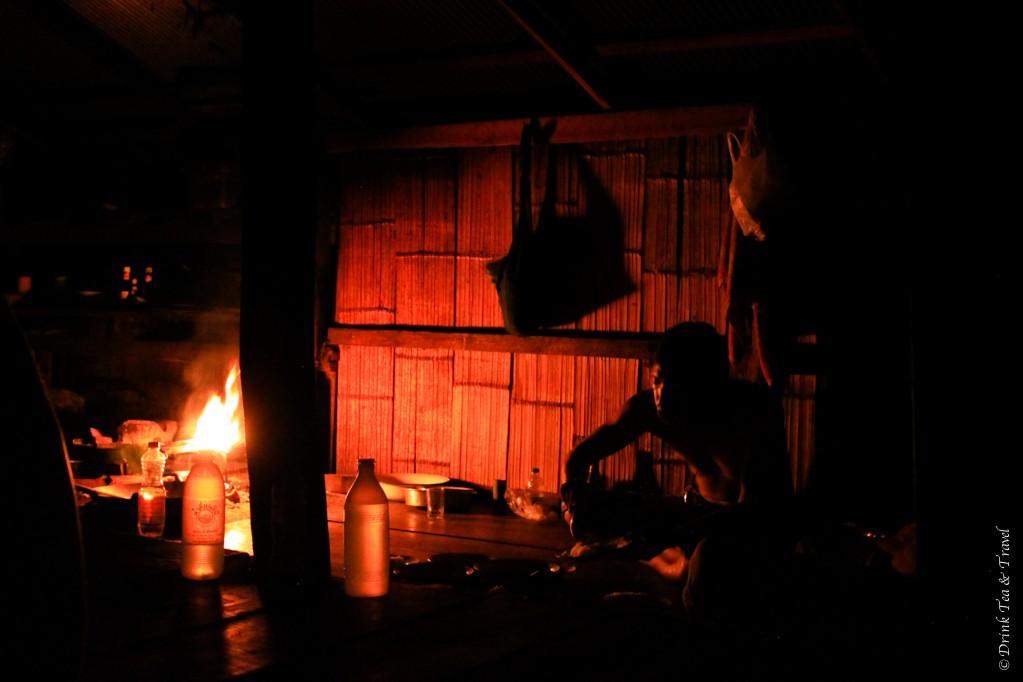 Korn enjoying his dinner in the dark