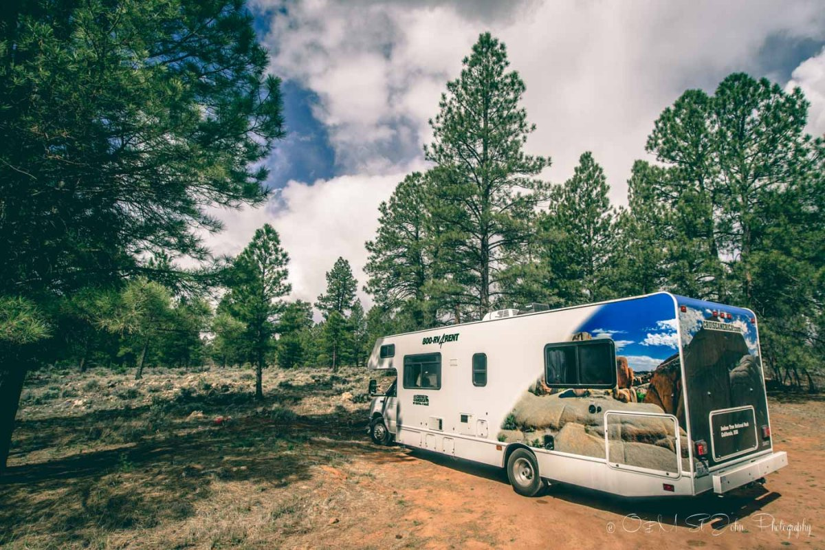 Cruise America RV parked in Kaibab National Forest. Arizona. USA Road Trip