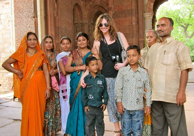 Oksana with locals in India