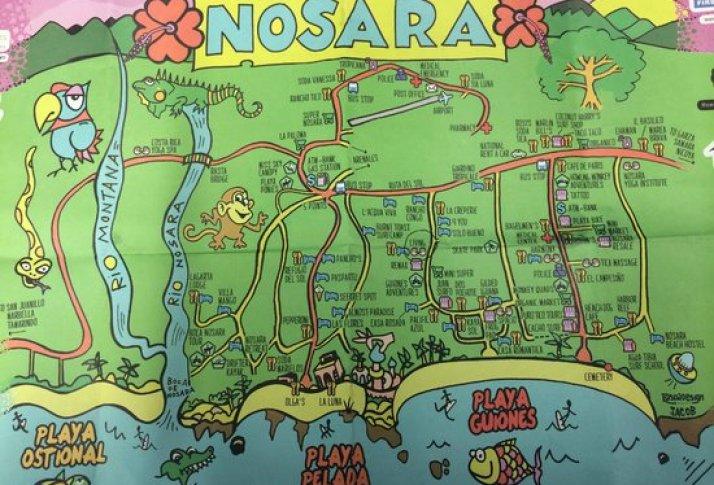 Map of Nosara. Costa Rica