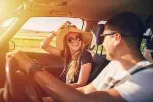 Couple having fun on roadtrip
