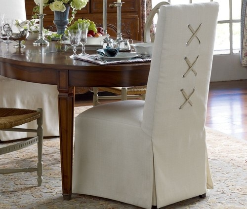 office chair covers target cheap porch chairs tie back and corseted slipcovers: a fun way to dress up plain parsons chairs! | driven by decor