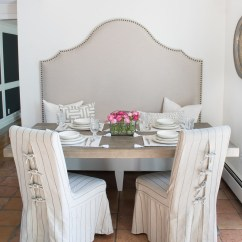 Dining Chair Slipcover Custom Covers Australia Tie Back And Corseted Slipcovers A Fun Way To Dress Up Plain Love This Breakfast Nook With High Backed Banquette Slipcovered Chairs Ties In The