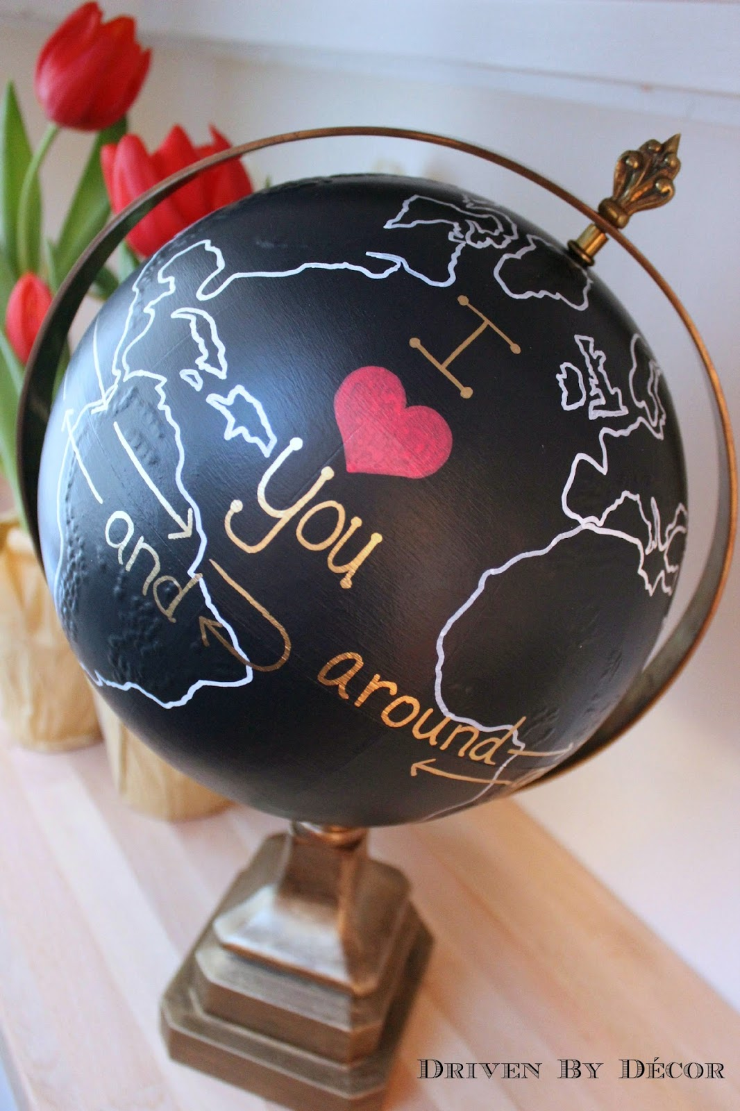 Upcycled Globe I Love You Around the World and Back Again