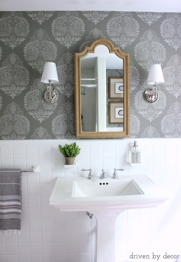 Our Stenciled Bathroom Budget Makeover Reveal  Driven by