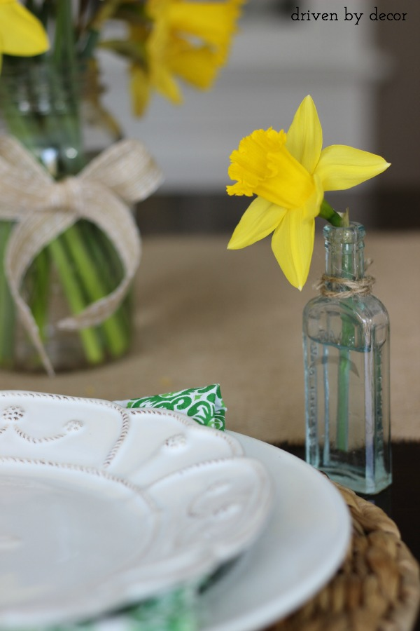 A single cut daffodil in vintage glass medicine bottle as part of simple spring tablescape
