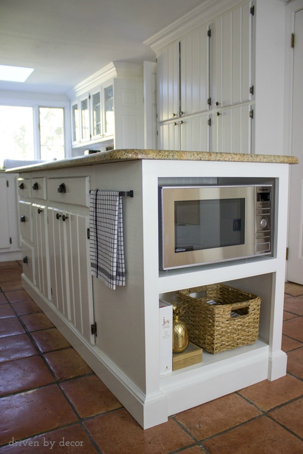 our kitchen island with microwave we