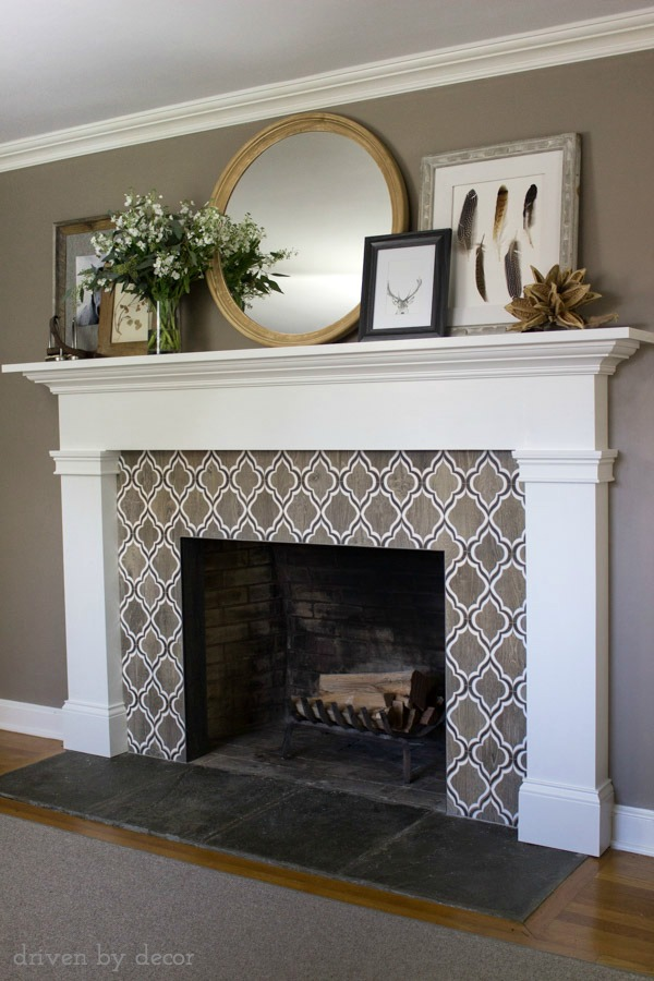 our new fireplace tile surround