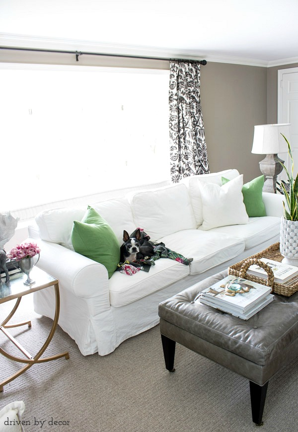 ektorp living room blue curtains how we supersized our ikea sofa driven by decor green vigdis pillow covers add an inexpensive pop of color to