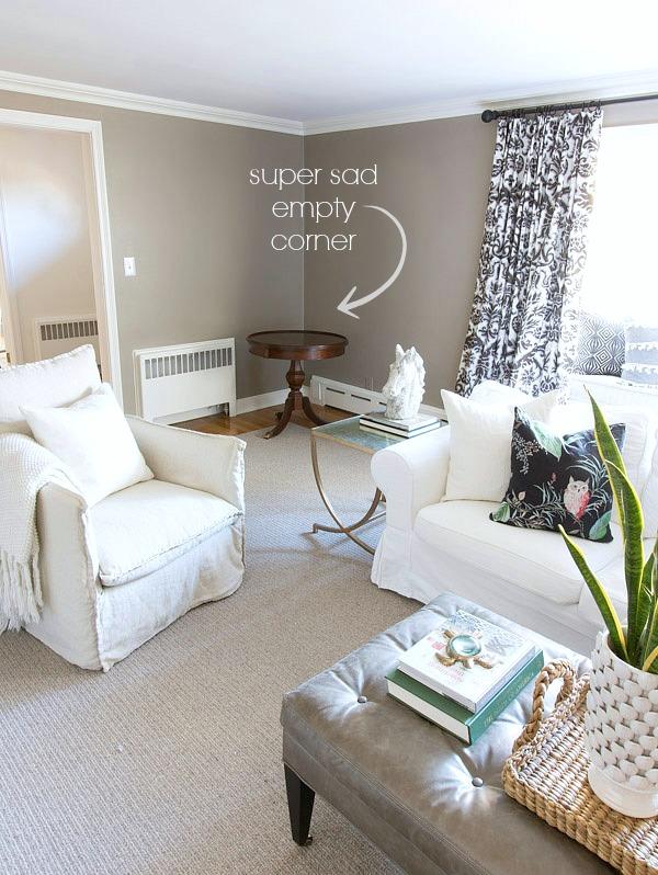 decorate empty corner in living room. Black Bedroom Furniture Sets. Home Design Ideas