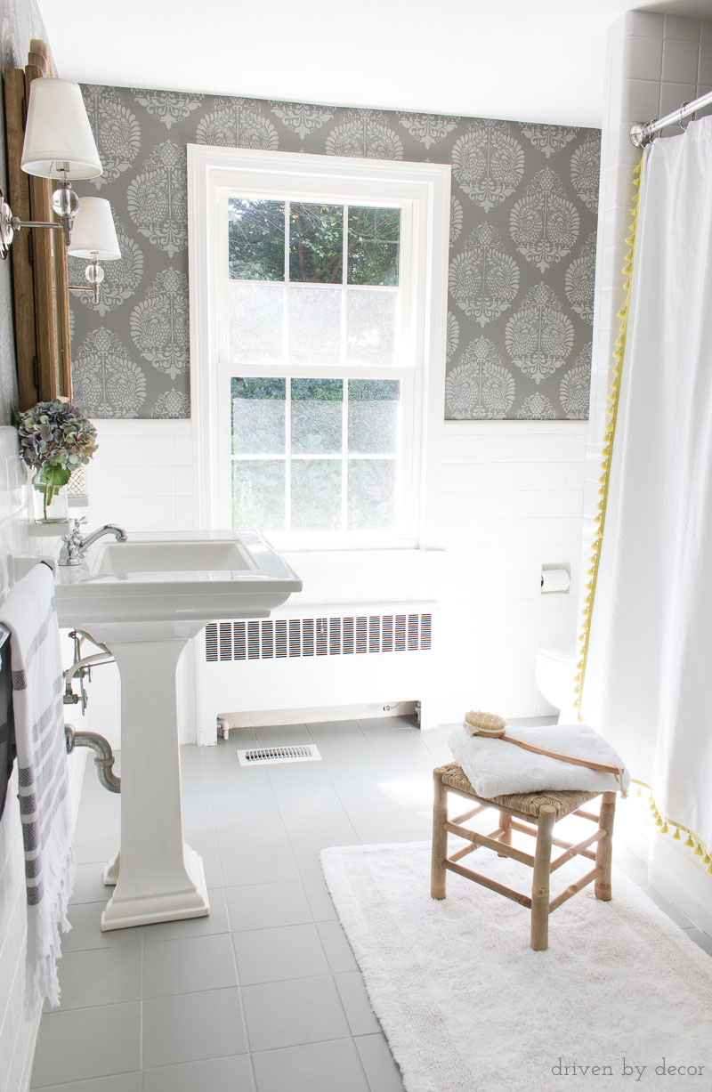 ceramic tile flooring pictures living room cottage chic how i painted our bathroom s floors a simple and budget remodel with gray walls stenciled to look like