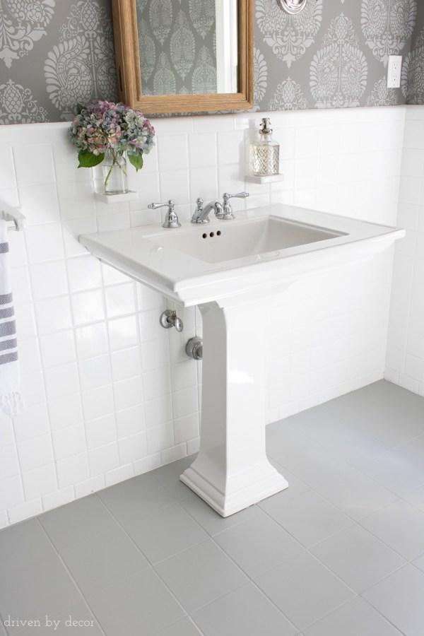 How to Paint Ceramic Tile Floor in Bathroom